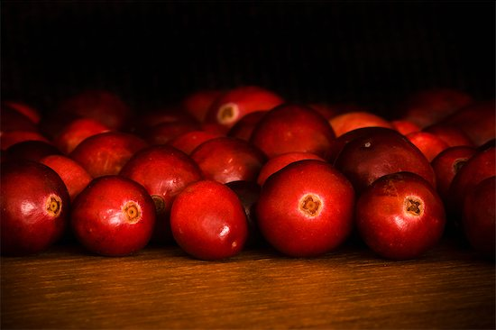 cranberries on a dark background