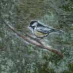 painting of chickadee on rock