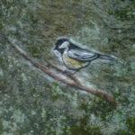 painting of chickadee on rock