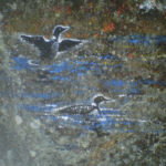 painting of two loons on rock