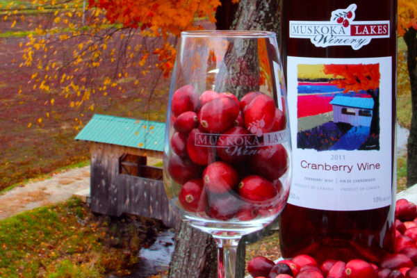 bottle of cranberry wine with glass full of cranberries in front of old marsh bridge