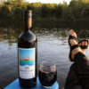 bottle of muskoka lakes winery muskoka red wine with glass