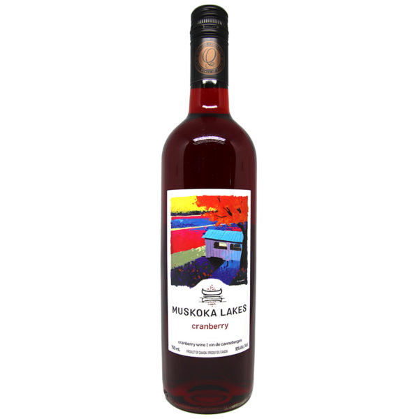 bottle of cranberry wine from muskoka lakes winery