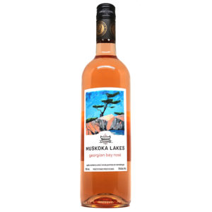 bottle of georgian bay rose wine from muskoka lakes winery