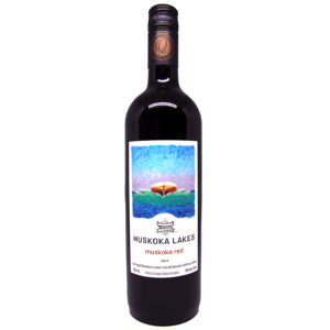 bottle of muskoka red wine from muskoka lakes winery