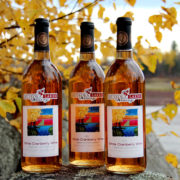 three bottles of Muskoka Lakes White Cranberry Wine in front of yellow leaves and a cranberry marsh