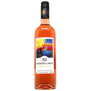 bottle of white cranberry wine from muskoka lakes winery