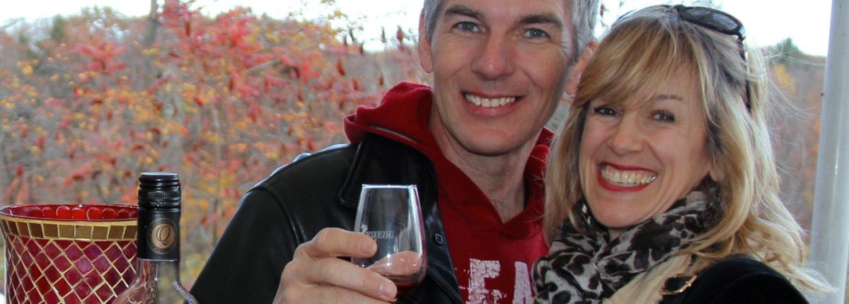 couple tasting muskoka lakes winery cranberry blueberry wine
