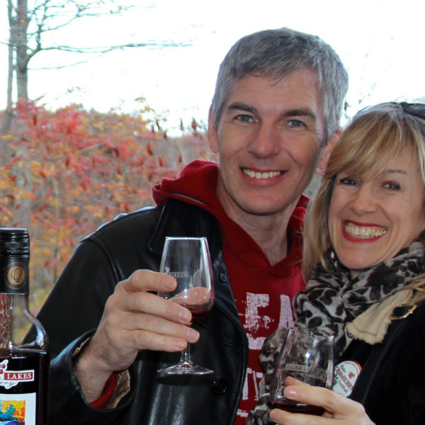 couple tasting muskoka lakes winery cranberry blueberry wine
