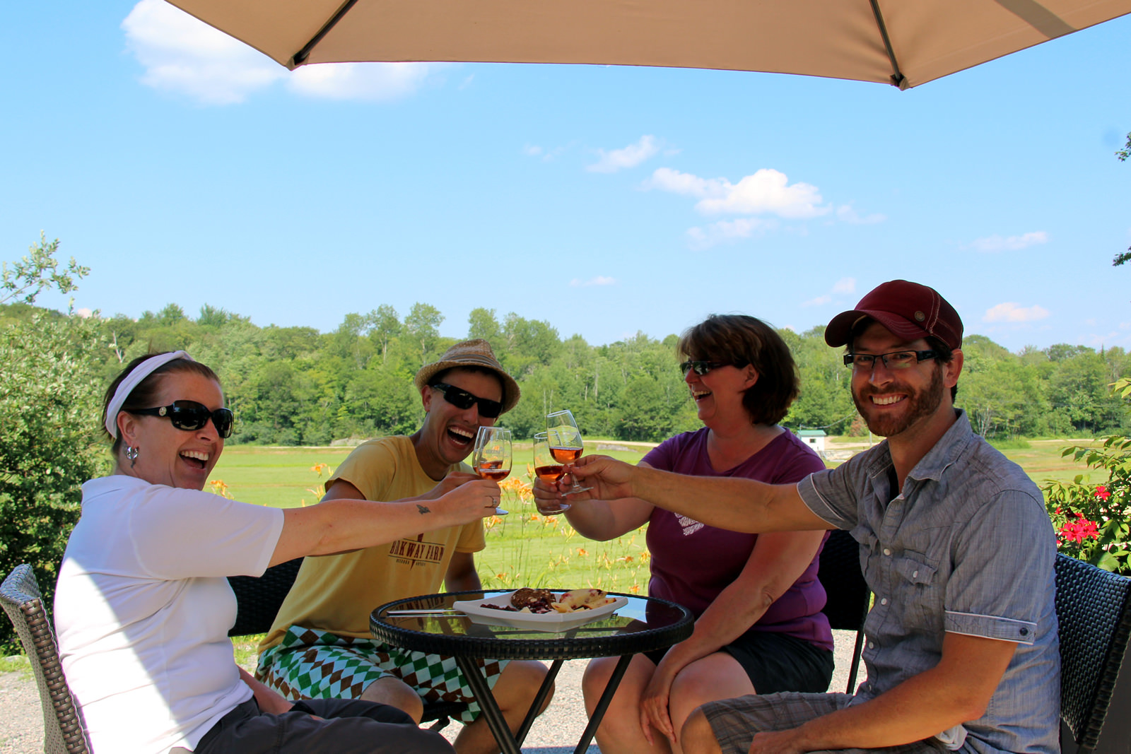 two couples touching glasses sitting on an outdoor patio in summer