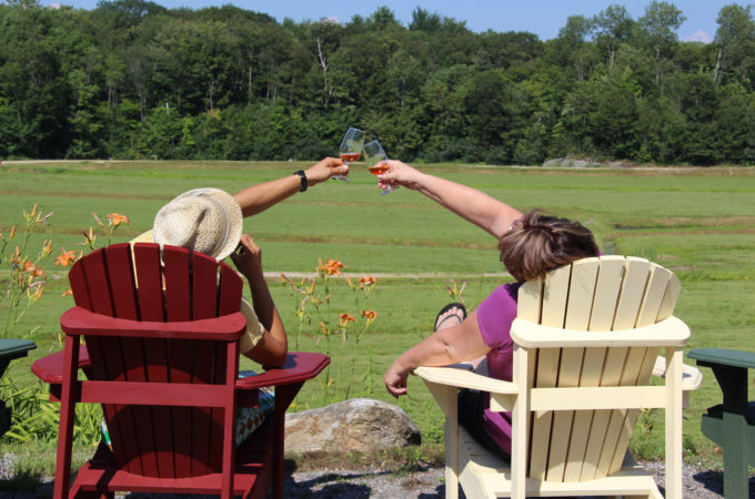 couple sitting on muskoka chairs overlooking old marsh reaching out to touch wine glasses