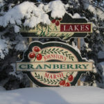 Johnston's Cranberry Marsh & Muskoka Lakes Winery sign in winter