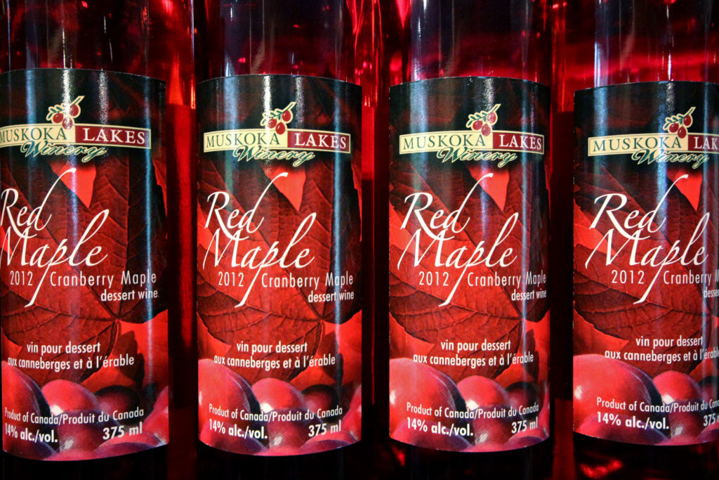bottles of Red Maple Dessert Wine by Muskoka Lakes