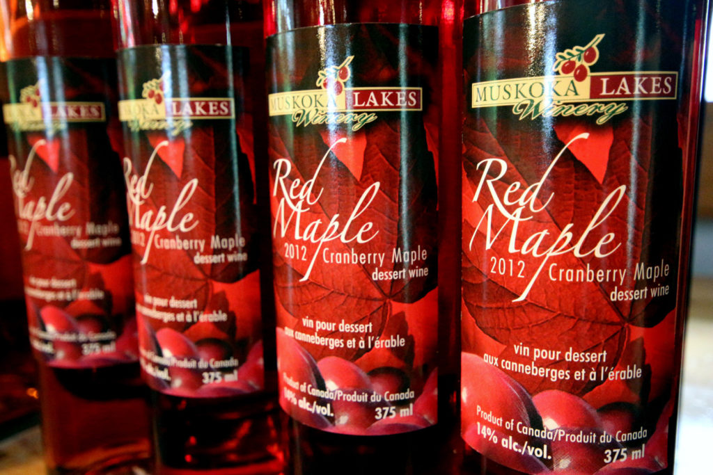 bottles of red maple dessert wine by Muskoka Lakes