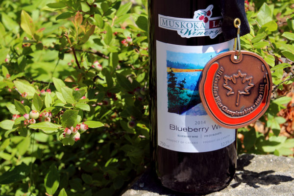 medal hanging on a bottle of blueberry wine against a background of immature blueberries