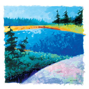 painting of the Torrence Barrens in hues of blue and green