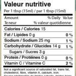 Mrs. J's cranberry chutney nutrition panel