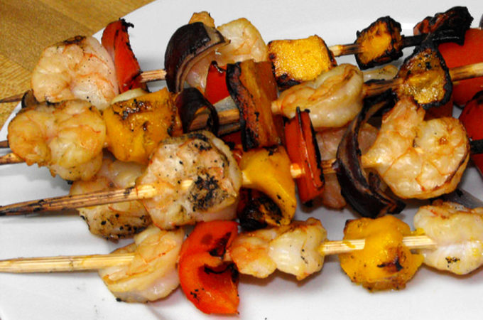 Ginger Mango Cranberry Shrimp Kebabs