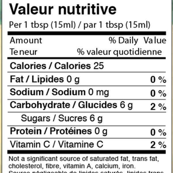 Johnston's cranberry peach jam nutrition panel
