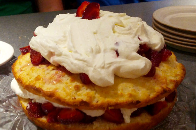 Strawberry Shortcake with White Cranberry Wine