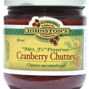 a jar of Mrs. J's cranberry chutney