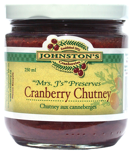 a jar of Mrs. J's cranberry chutney