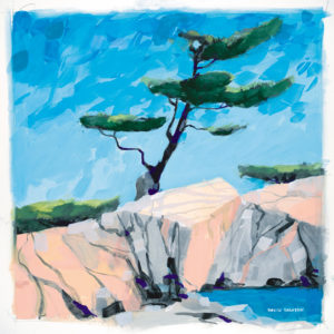 painting of windswept pine and pink granite