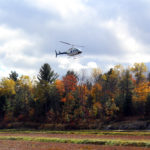 helicopter rising above fall trees