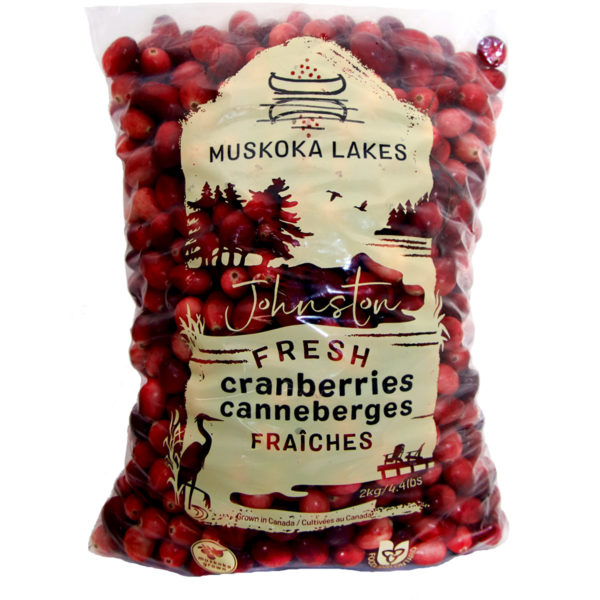 2 kg bag of muskoka lakes johnstons cranberries