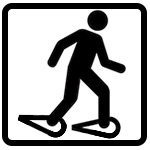 icon of a person wearing snowshoes