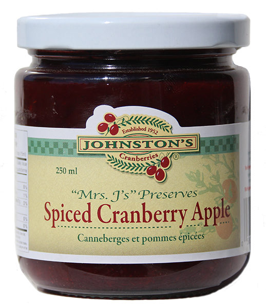 a jar of Mrs. J's spiced cranberry apple preserve