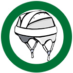 icon of helmet in a green circle