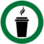 icon of hot drink in a green circle