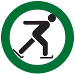 icon of skater in a green circle