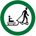 symbol showing children on toboggans can be pulled by an adult on snowshoes