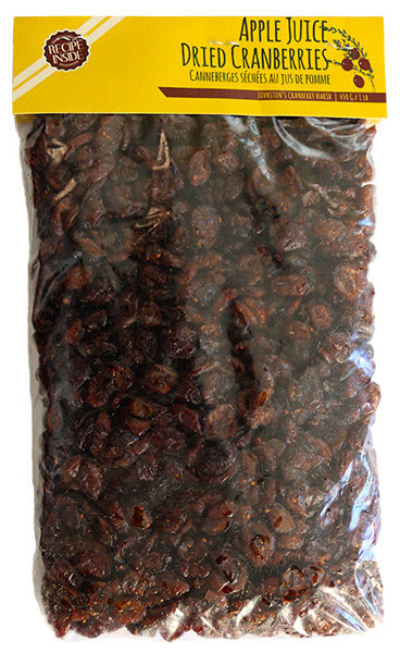 450 gram bag of Johnston's apple juice infused dried cranberries