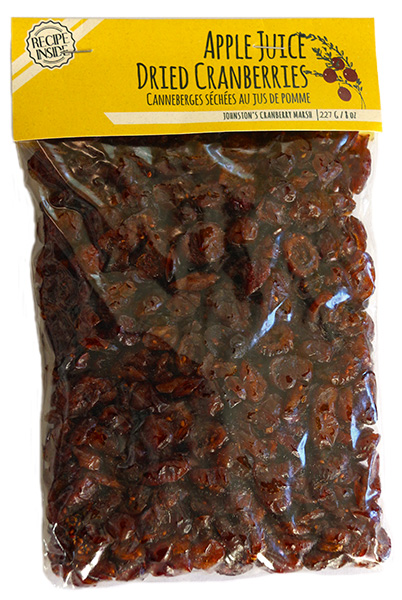 227 gram bag of Johnston's apple juice infused dried cranberries