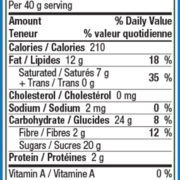 nutrition panel for dark chocolate covered wild blueberries