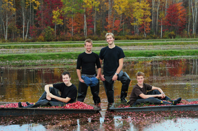 four young men standing on a flooded cranberry bed