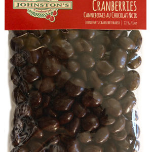 227 gram bag of dark chocolate covered Johnston's cranberries