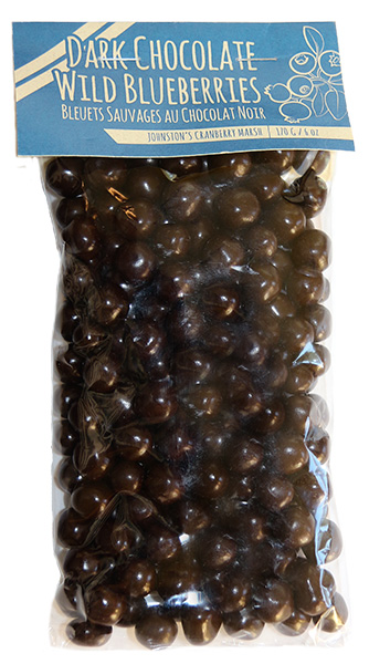 bag of Johnston's dark chocolate covered wild blueberries