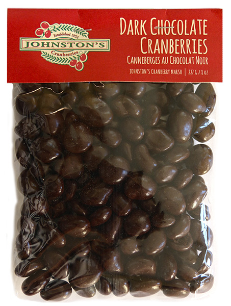 227 gram bag of dark chocolate covered Johnston's cranberries