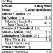Milk Chocolate Blueberries Nutrition Panel
