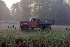 dodge truck in on a misty morning