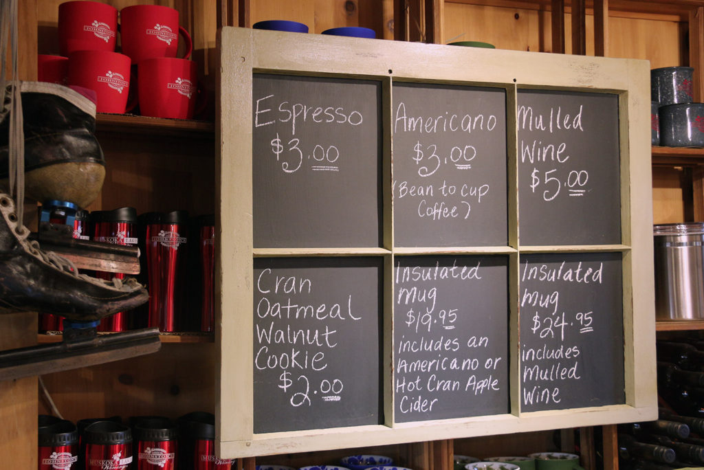 Coffee menu at Johnston's Cranberry Marsh & Muskoka Lakes Winery in Bala, Ontario