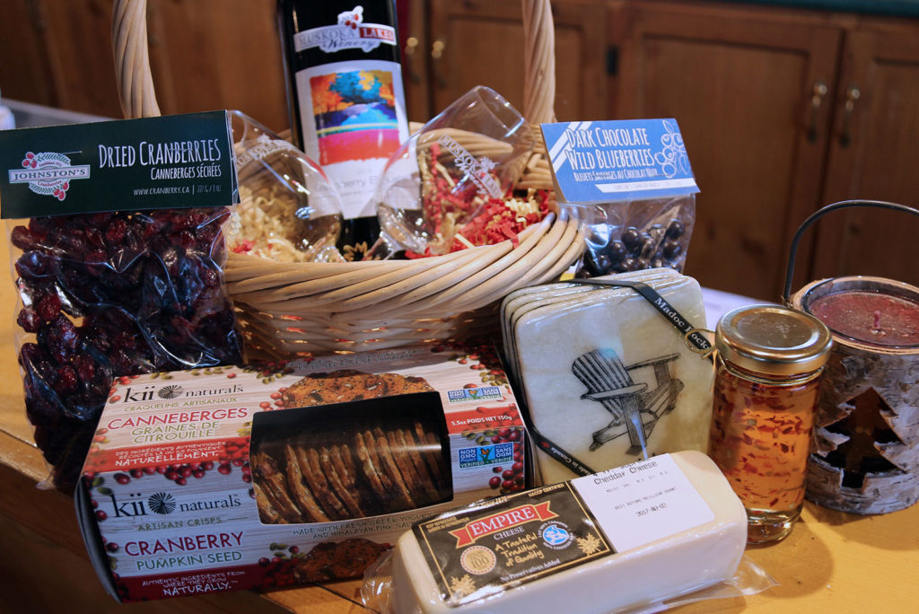 Gift basket at Johnston's Cranberry Marsh & Muskoka Lakes WInery in Bala, Ontario