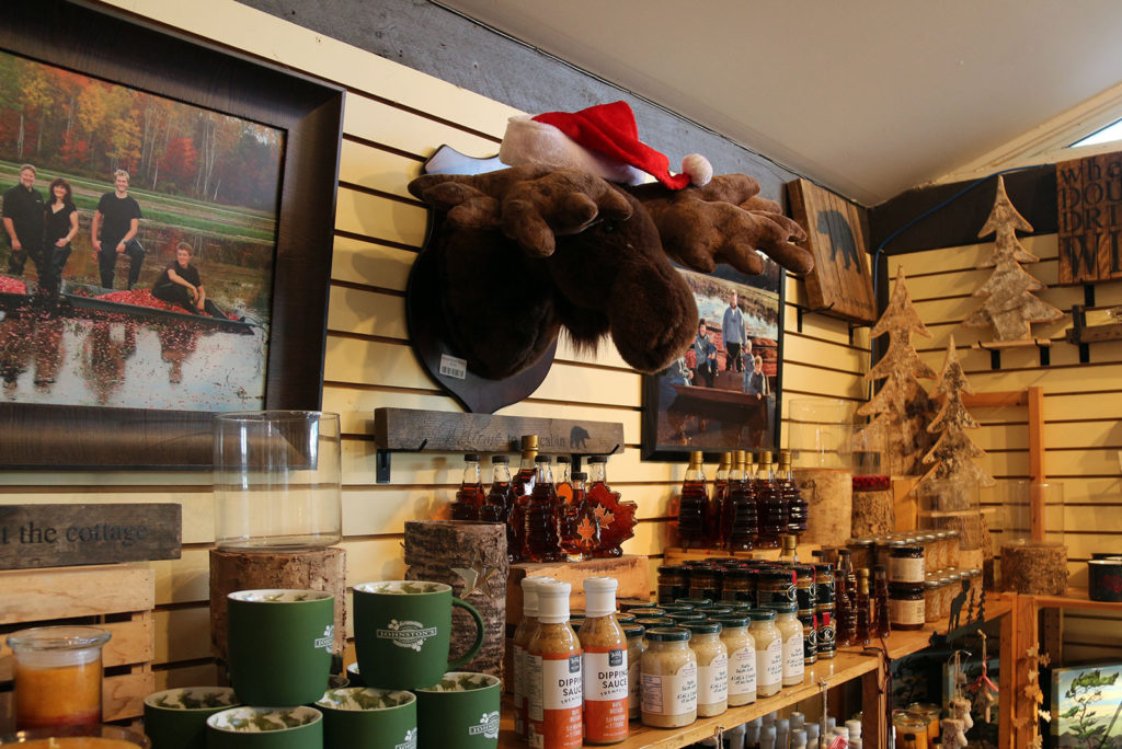 Moose wearing Christmas hat on wall above store shelves at Johnston's Cranberry Marsh in Bala, Muskoka, Ontario