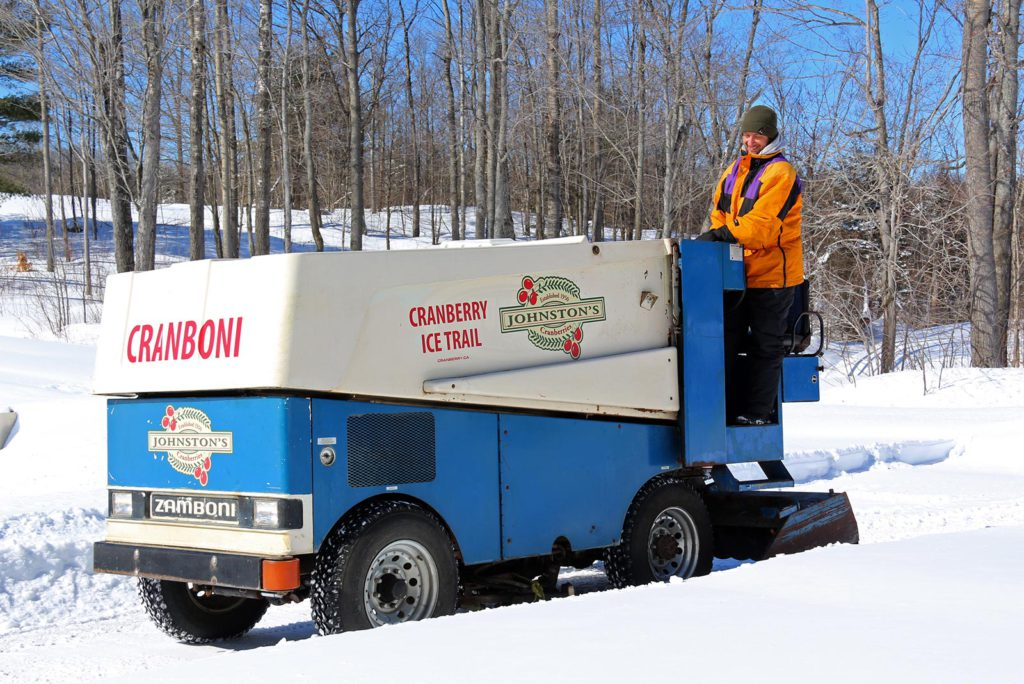 taking the cranboni out on the ice trail at Johnston's Cranberry Marsh in Bala, Muskoka, Ontario
