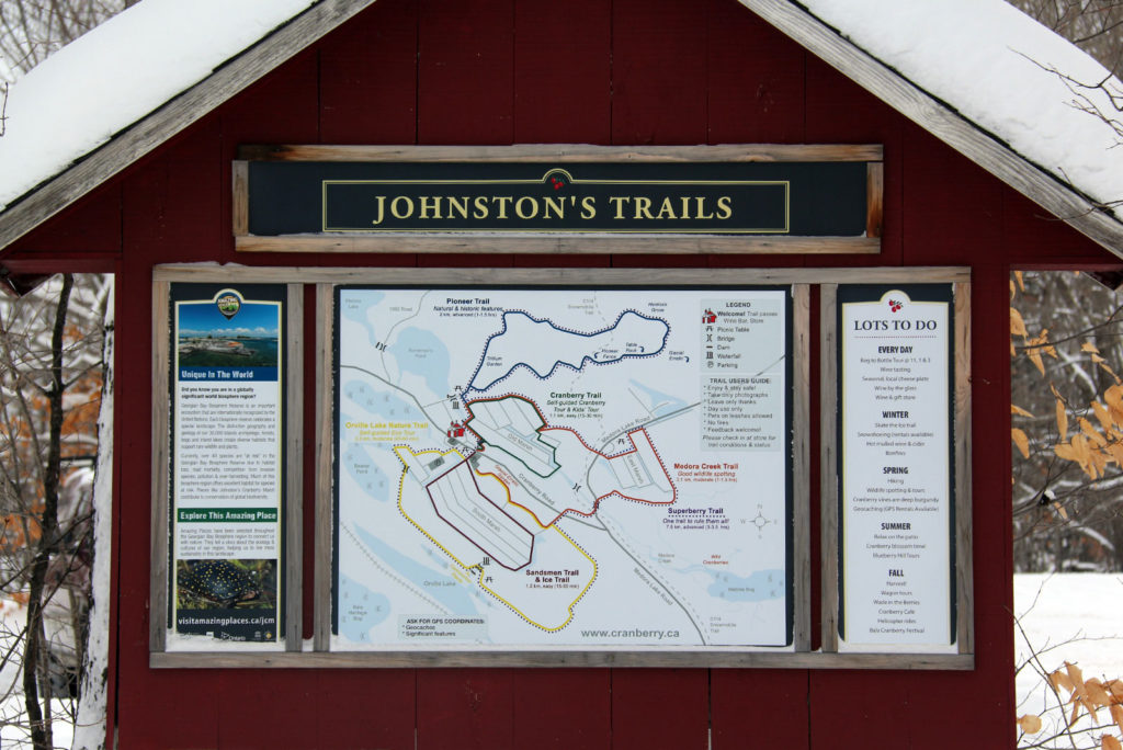 Trail head for Johnston's Trails at Johnston's Cranberry Marsh in Bala, Muskoka, Ontario