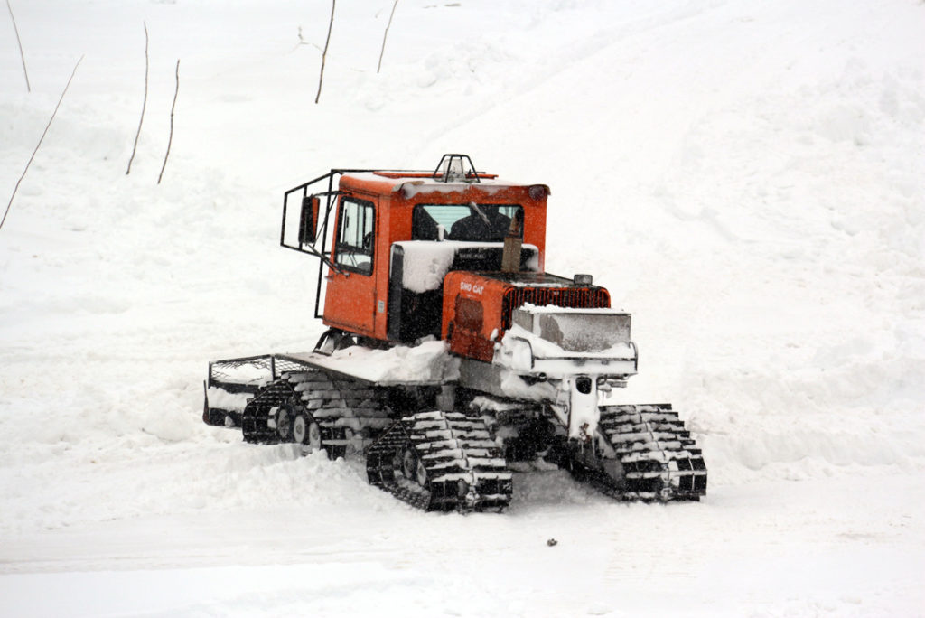 Tucker sno cat grooming snowshoe trails at Johnston's Cranberry Marsh in Bala, Muskoka, Ontario